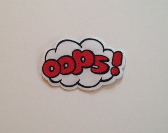 Oops Speech/Thought Bubble Iron on Patch