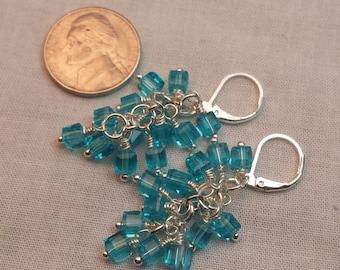 Blue Glass Bead Cluster Earrings