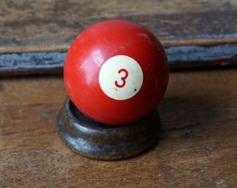 """Old Pool Ball 3 Three III Red Number Plastic Billiard Ball Standard Size 2.25"""" Color Solid Solids Retro Paperweight Man Cave"""