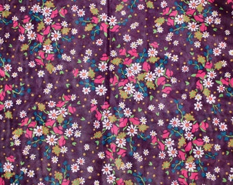Sweet 60s vintage retro Fabric: dark purple base with floral pattern in pink, white, blue and green. Made in Sweden Scandinavian.