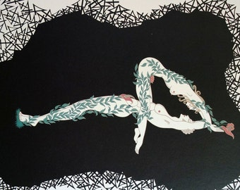Erte Matted Print 1982 - The NUMERALS - NUMBER FOUR 4 -  Acrobats Garden of Eden  -  Adam and Eve -  Art Deco Illustration Ready to Frame