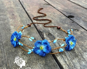 Blue Boho Flower Crown // Periwinkle blue floral headband for bohemian bride // Flower crown headband perfect for adults, teens or kids