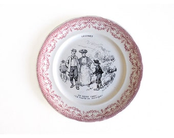 French Decorative Sarreguemines Talking Plate