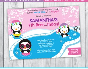 penguin birthday invitation / winter pool party invitation / winter pool invitation / winter pool party invite / winter pool birthday party