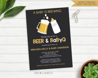 beer baby shower invitation, beer bbq baby shower, a baby is brewing invitation, babyq invitation, beer and babyq invitation, chalkboard