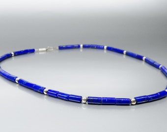 Lapis Lazuli Necklace with silver beads - natural genuine Lapis Lazuli necklace - Blue and silver jewelry - Statement Necklace - tubes