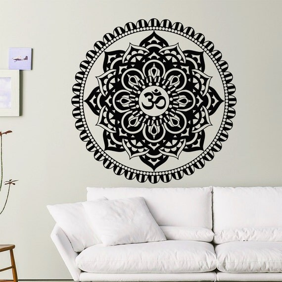 Mandala Wall Decals Indian Floral Design Sun Flower Decal Om