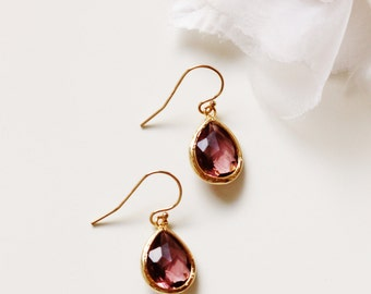 Burgundy Earrings Burgundy Wedding Jewelry Bridesmaid Gift Idea Bugundy Bridesmaid Earrings Gold Drop Earrings Bridesmaid Jewelry