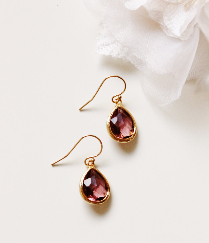 Burgundy Earrings Burgundy Wedding Jewelry Bridesmaid Gift Idea Bugundy Bridesmaid Earrings Gold Filled Drop Earrings Bridesmaid Jewelry