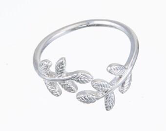 Olive leaf ring. Laureate Ring. Laurel leaf Ring. Open olive ring. Leaf ring. Adjustable olive leaf ring. Fits sizes 4-6.5