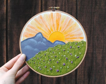 """Sunset Mountain mixed media hoop art - 7"""" embroidery hoop, purple wildflowers, nature landscape, sunrise, hand stitched, paint on fabric"""