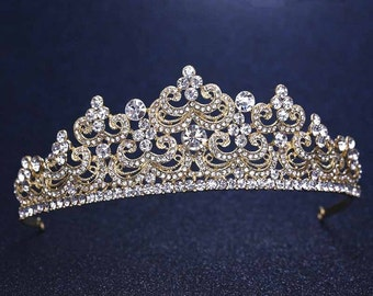 Ready to ship***Bridal Gold Tiara Austrian Crystal / Wedding Gold Tiara / prom Tiara / Sweet 16 tiara