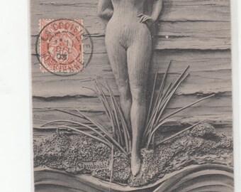 Undivided 1905 Postcard Bas Relief Art Nouveau Jugendstil,Beautiful,Lady Ete/Summer