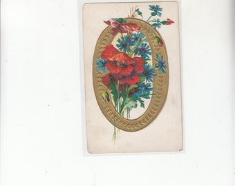Antique  Embossed Alphabet Letter Postcard/Rich Gold And Embossed Poppies/LOOK