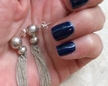 Vintage STERLING TASSEL EARRINGS Stunning Silver Double Ball Bead Dangle Earrings Delicate Long Swingy Chains Refined Sexy Pierced Wires