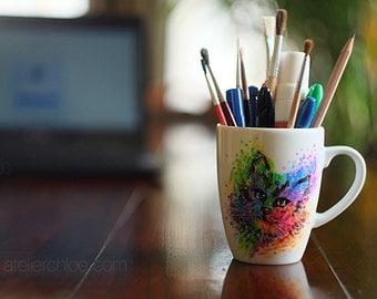 Colored Pen Pencil Holder Cat Pencil Cup Cute Desk Accessories Office Decor  Desk Decor Cute Desk