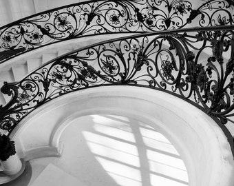 Paris black and white photography, spiral staircase, Paris photography, black and white photo, French wall art, Paris decor, fine art print