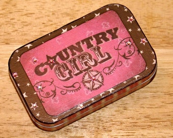 Altered Altoid Tin Country Girl Jewelry Box