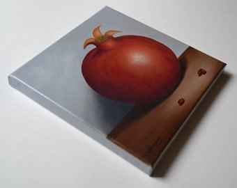 Original 8x8' acrylic pomegranate painting, small still life painting, fruit painting, kitchen painting, food painting, fruit miniature