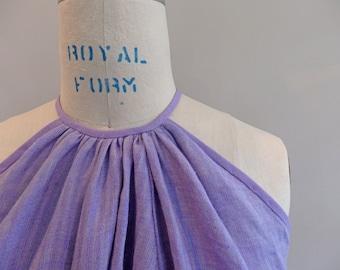 Linen Dress, Lavender Swing Dress, Summer Dress, Purple Linen Dress, Sleeveless Dress
