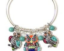 Multi Color Owl Adjustable Bangle Style Bracelet