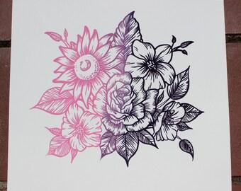 Original Hand-pulled Floral Line Art Screenprint