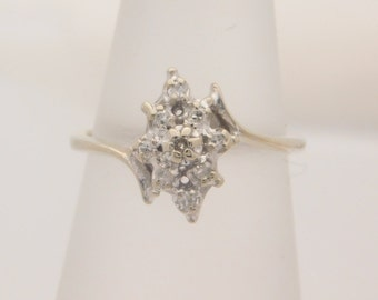 0.18 Carat T.W. Lady's Round Cut Diamond Cluster Ring 10K White Gold