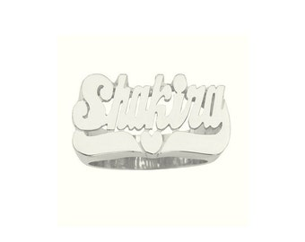SNS112sh - Sterling Silver Heart Tail Name Ring