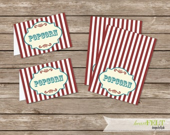 Vintage Circus/ carnival Party Food labels or place cards- Printable File