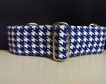 """Martingale Collar - Whippet, and Small to Medium Dog - 1.5"""" width - Navy Hound's-Tooth"""