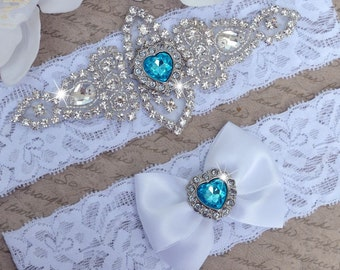 Wedding Garter Set ,Aqua Blue Wedding  Garter, Blue Garter, Bridal Garter Set, Petite to Plus Size Lace Garter, Blue Rhinestone Garter Set