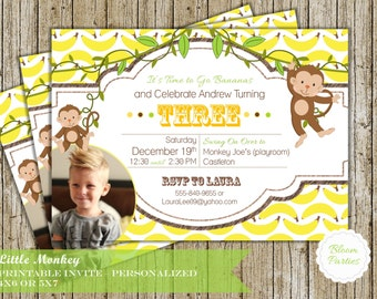 Monkey Party Invite - Little Monkey First Birthday Invitation Baby Boy Bananas Swing on Over Digital Printable