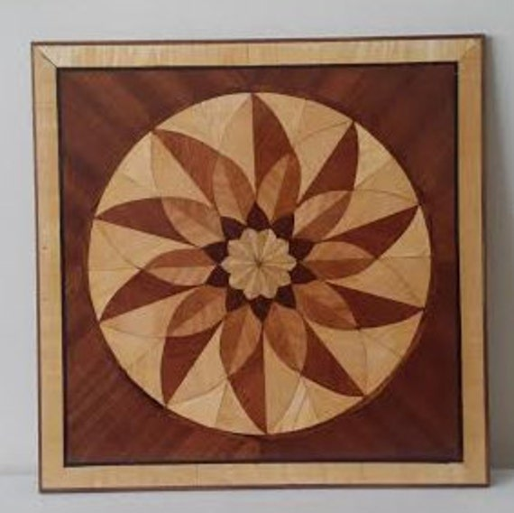 Large Inlaid Wood abstract Picture -  Marquetry