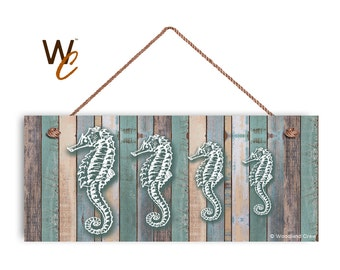 """Seahorse Family Sign, Beach Weathered Wood, Weatherproof, 6""""x14"""", Rustic Signs, Housewarming Gift, Under The Sea Sign, Made to Order"""