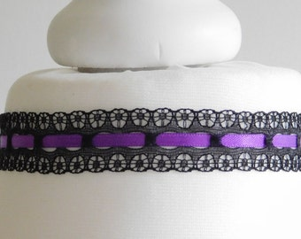 Purple Black Lace Choker - Necklace Gothic - Halloween
