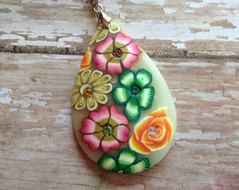 Colorful Polymer Clay Pendant with Rhinestones-Oranges, Greens and Pinks, Gift Ideas, For Her