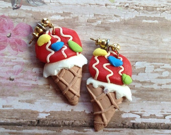 Happy Birthday Earrings, Ice Cream Cone Earrings, Earrings, Gifts, Gift Ideas, For Her, Jewelry
