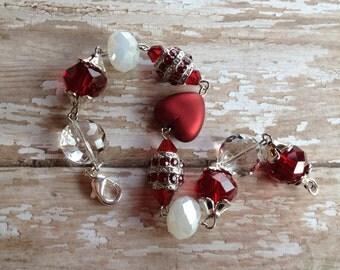 Red Glass Lampwork Bracelet, Lampwork Bracelet, Beaded Bracelet, Beadwork Bracelet, Gift For Her