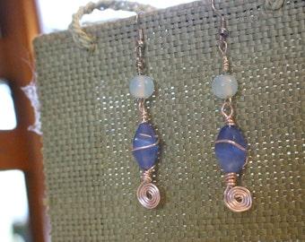Blue glass wire wrap dangle earrings
