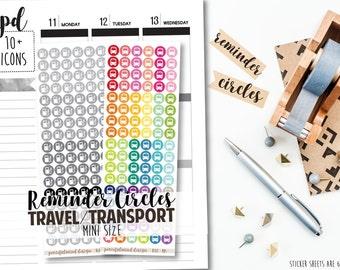 Mini Travel/Transport Icon Stickers - Mini Reminder Circles - RC02