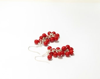 Sterling Silver Red Coral Beaded Earrings, Red Coral, Red Coral Earrings, Red Earrings, Cluster Earrings, Drop Earrings, Dangle Earrings