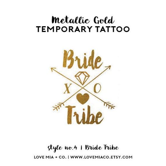 Bride Tribe Bachelorette Tattoo | Metallic Gold Temporary Tattoos, Bachelorette Party Favors, Boho Arrow Tribal Gold Foil Bride Tribe Tattoo