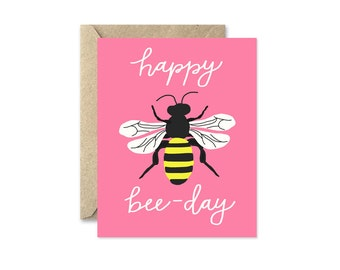 Honey Bee Birthday Card in Pink, Funny Birthday Card, Happy Bee Day