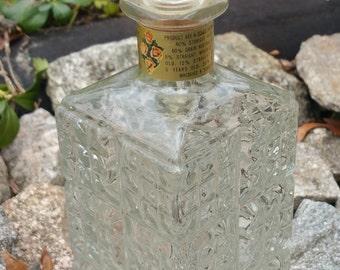 "Vintage Glass Decanter - Square Block Design - 11"""