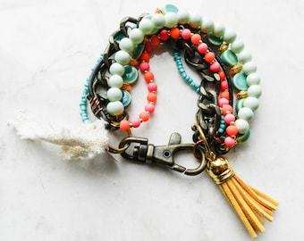 Handmade Eclectic Bohemian Multistranded Beaded Bracelet with Chain, Tassel, and Heart Charm