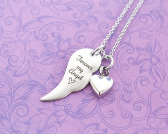 Memorial Angel Wing Pendant - Cremation Jewelry - Engraved Jewelry - Urn Necklace - Pet Memorial - Ash Necklace - Forever My Angel