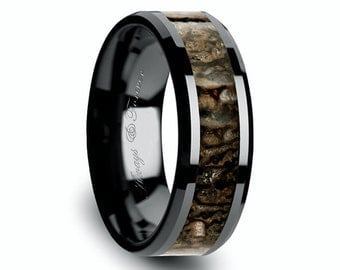 Black Ceramic Ring, Wedding Band, Bands, Ring, Brown Bone Inlaid Wedding Ring, Ceramic Jewelry, Engagement Ring, Wedding Bands Set, Weddings