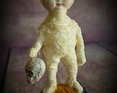 "Ooak Primitive HALLOWEEN Folk Art Doll Figurine Sculpture ""Trick or Treater"" Mummy I by Deborah Bowe DCBARTSTUDIO"