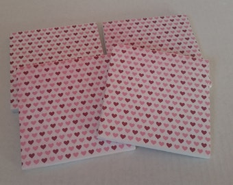 Set of Four Pink Heart Coasters / Valentine's Day Coasters / Heart Coasters / Ceramic Coasters