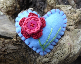 Crochet Crimson and Periwinkle Flower Heart Embroidery Brooch